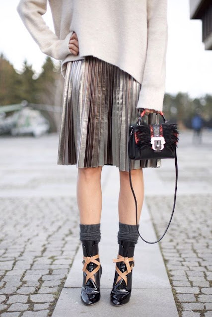 pleated metalic skirt