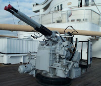 Aircraft gun on bow of ship