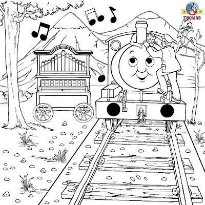 Thomas the train coloring pages Percy and the calliope musical instrument picture fun art activity