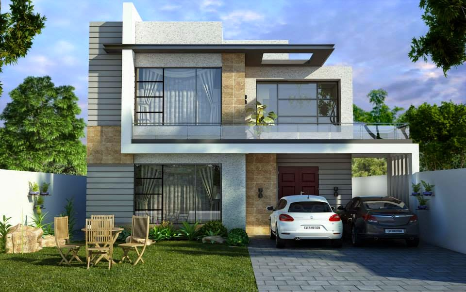 One kanal house design 3d front design blog for Images of front view of beautiful modern houses