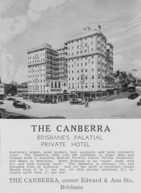 Sketch of the Canberra Hotel Brisbane 1935