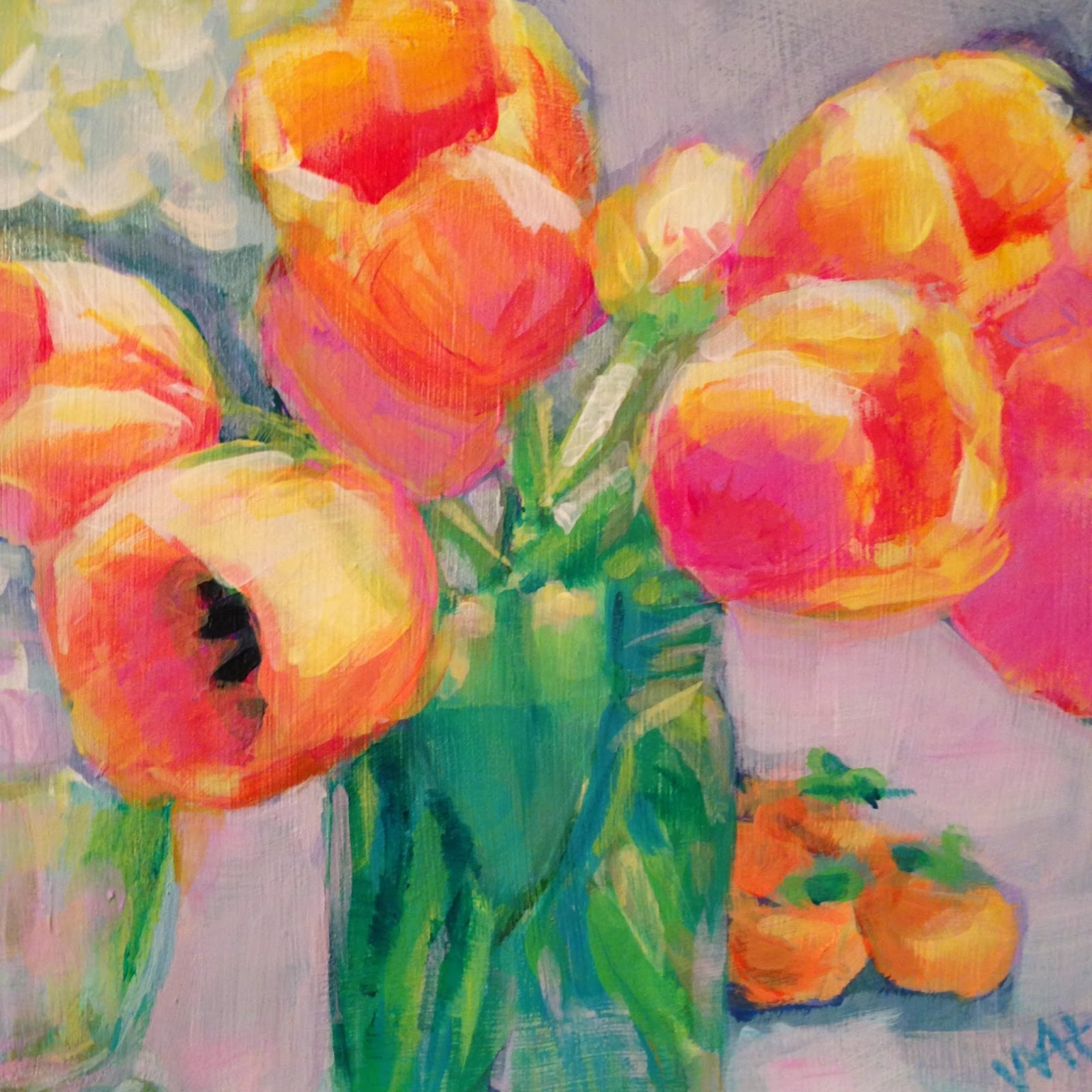 floral painting by artist Whitney Heavey acrylic