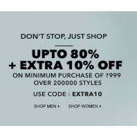 Get upto 80% off &  extra 10% off On Minimum Purchase Of Rs.999 :Buytoearn
