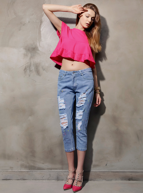 Paint Splashed Cropped Boyfriend Jeans