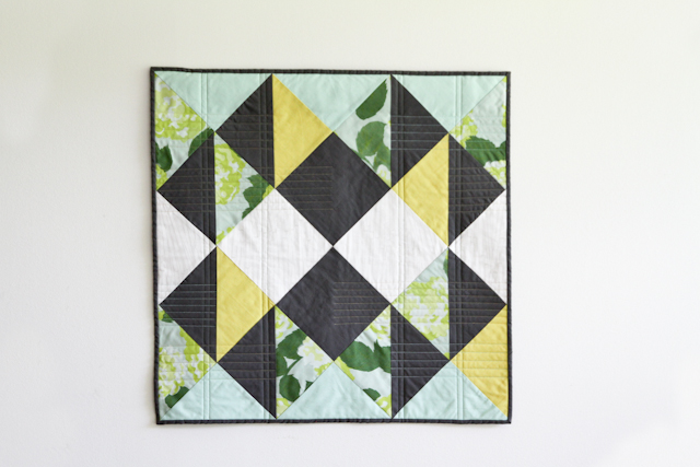 classic and modern quilt in citron, dark grey, and mint by Lovely and Enough