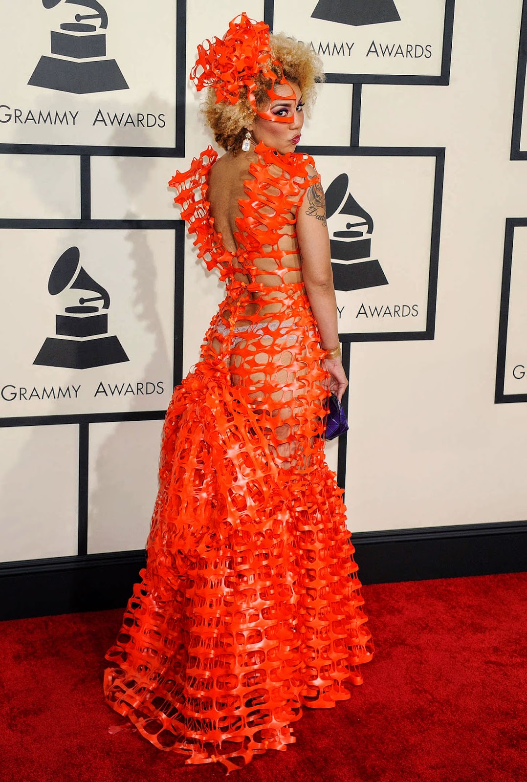 Joy Villa in a bizarre orange gown at the 2015 Grammy Awards in LA