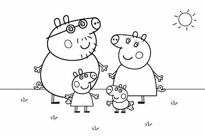 Colorea Peppa Pig: Imágenes Familia Pig (Peppa Pig)