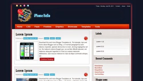 iPhone Hello - Free Blogger Template