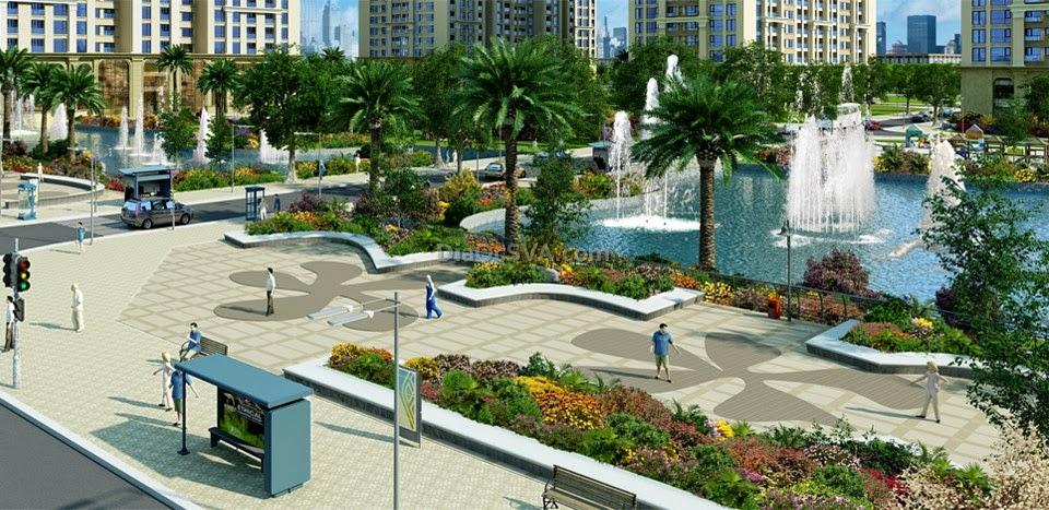 Những khoảng xanh công viên, hồ nước giữa các toà chung cư Times City