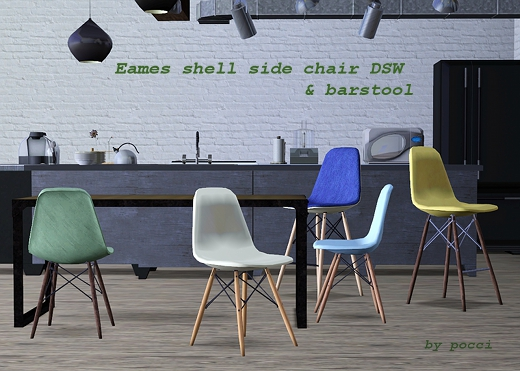 My Sims 3 Blog Eames Shell Side Chair Dsw And Barstool By