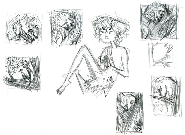 Composition sketches before i thought of doing it in an oval i like