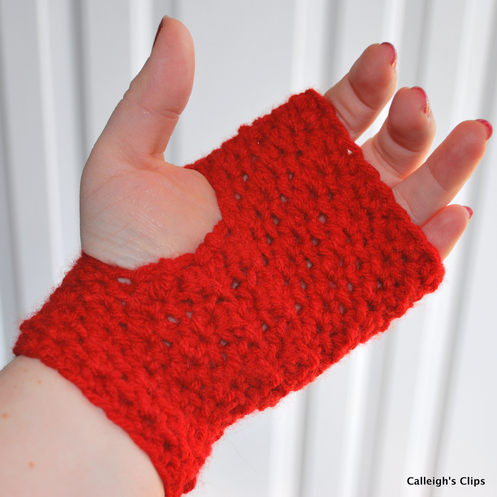 Calleigh\'s Clips & Crochet Creations: Textured Fingerless Gloves ...