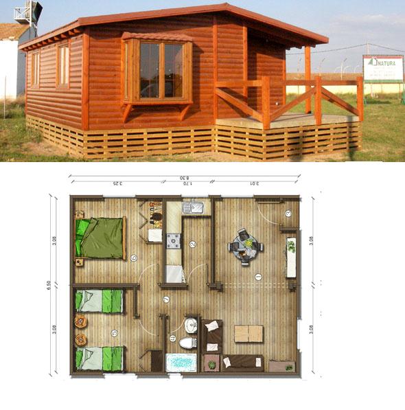 Casas de madera en espa a planos casa madera 54 m2 - Planos casa de madera ...