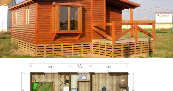 Casas de madera en espa a planos casa madera 54 m2 - Cocheras de madera prefabricadas ...