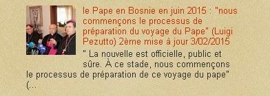 """le Pape en Bosnie en juin 2015 : """"nous commençons le processus de préparation du voyage du Pape"""""""