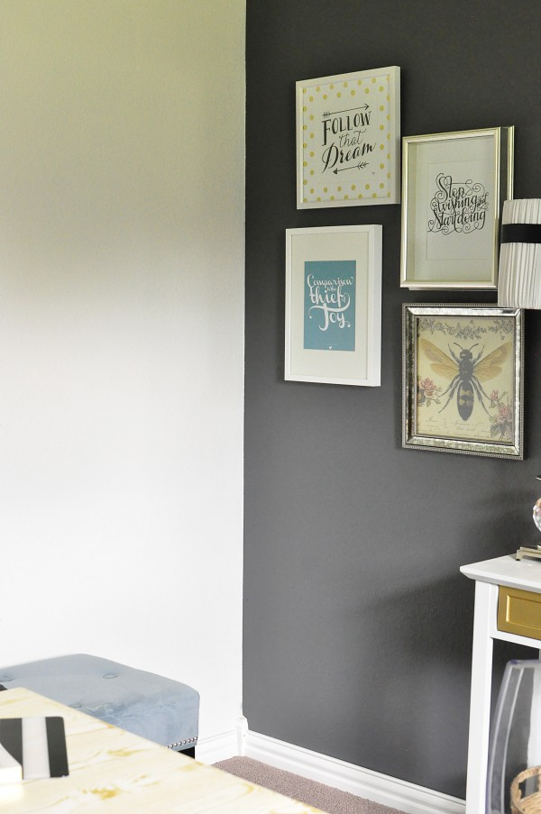 This black, white & gold home office is filled with DIY projects and inspiration that is chic and cheap. Photo by monicawantsit.com