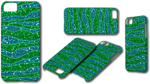 Glitters Zebra Stripes Glitters Green Blue Case For iPhone 5C