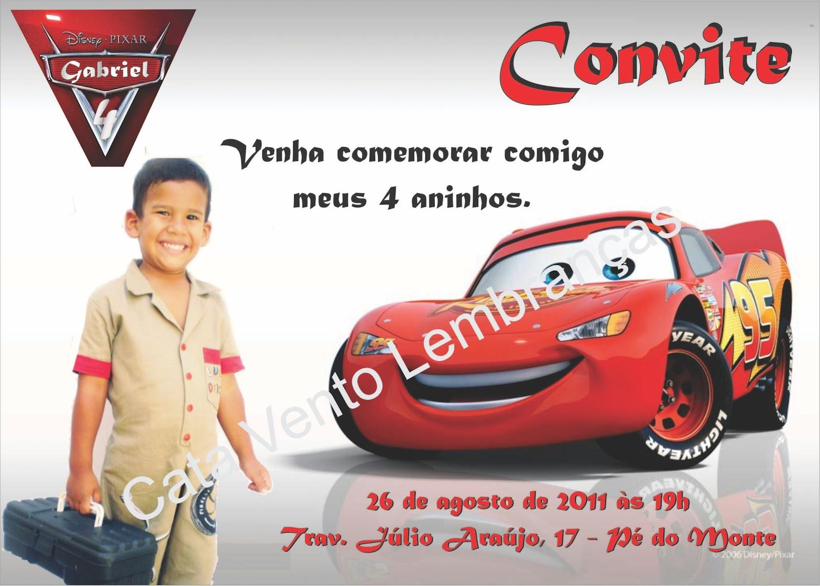 Convite Para Anivers  Rio De Menino   Tema Rel  Mpago Macqueen