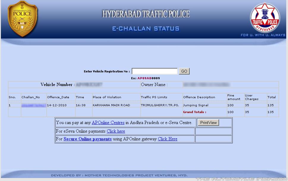 hyderabad traffic challans status enquiry pending traffic challans & e- challan status