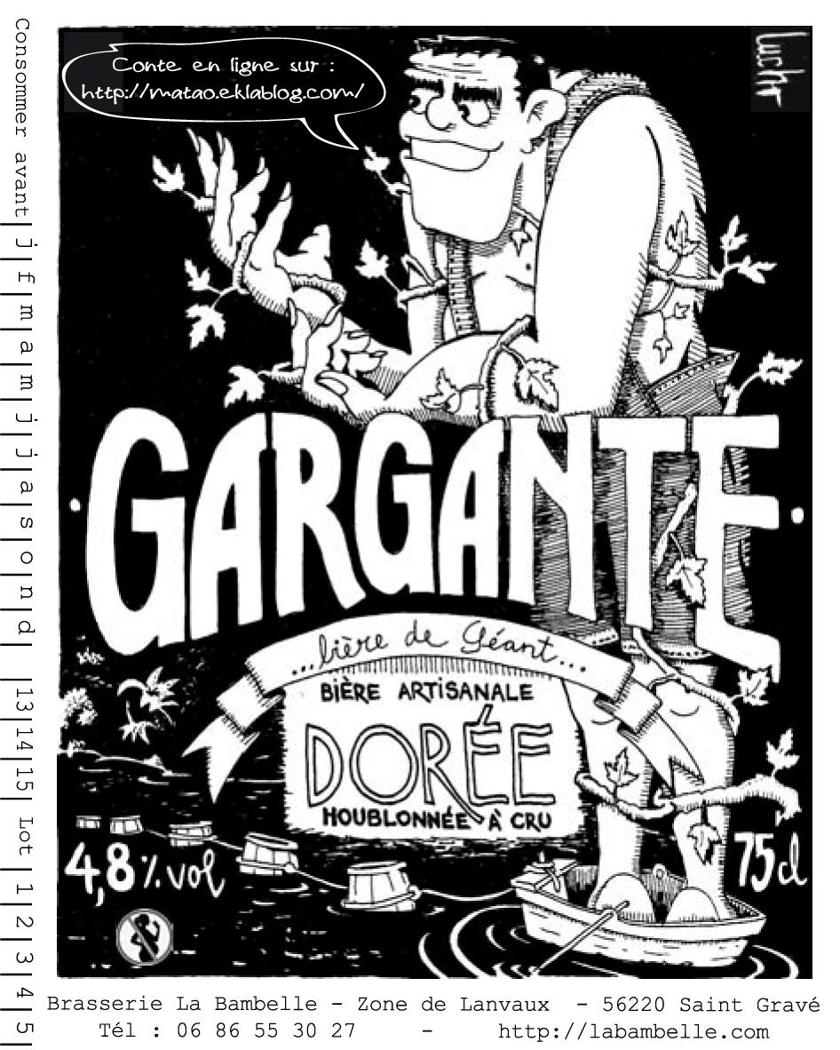 Bière La Gargante  Bière de Géant, houblonnée à cru,  4.8% 75 cL