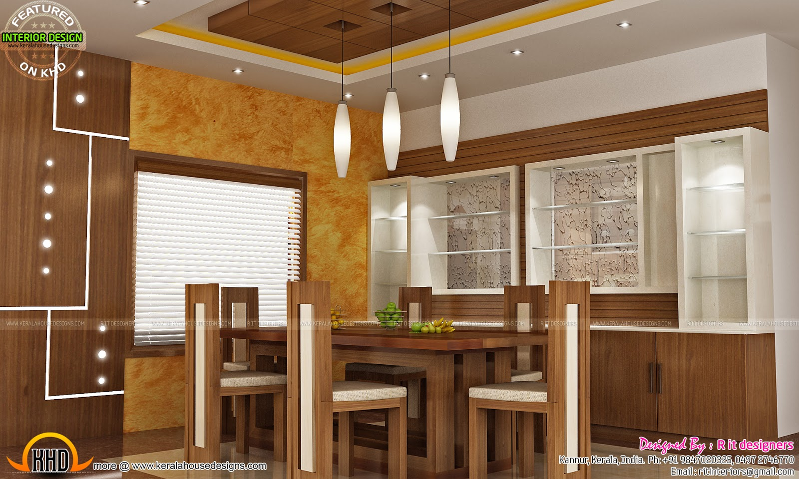 Modular kitchen dining and bedroom interior kerala home for Kerala homes interior designs