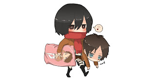 Attack on Titan Shingeki no Kyojina Mikasa Ackerman Eren Jaeger Anime Chibi Pillow HD Wallpaper Desktop Background