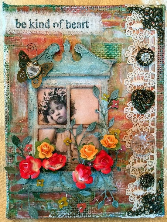 sweet vintage canvas with tim holtz die cut window, vintage buttons, frosted film window