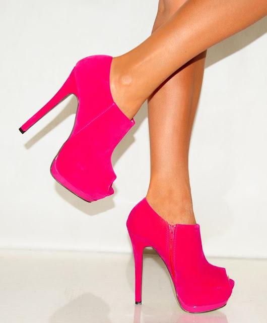 Fuchsia suede high heel platform peak toe ankle boots