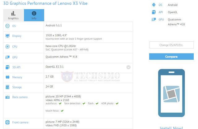 Lenovo Vibe X3 muncul di situs GFXBench, dibekali chipset Snapdragon 808 dan kamera 20 MP