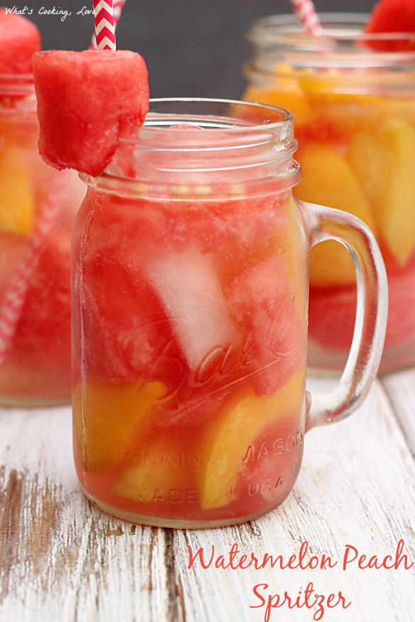Watermelon Peach Spritzer | Non-Alcoholic Holiday Drink Recipes For All To Enjoy