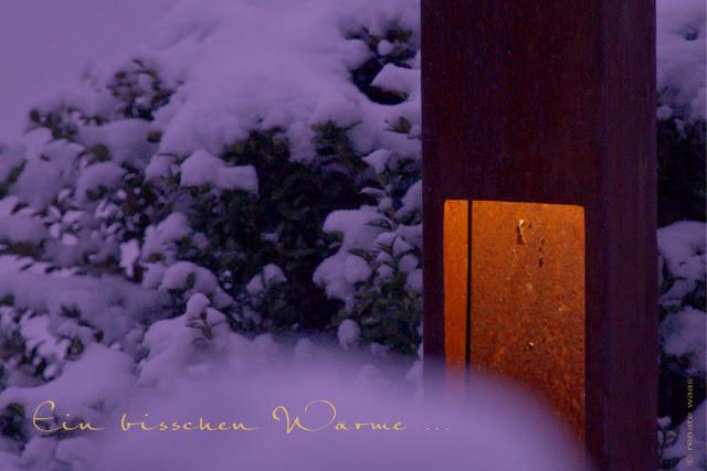 Gartenlicht, Licht im Garten, Licht im Garten  mit Schnee, Cortenstahlleuchte