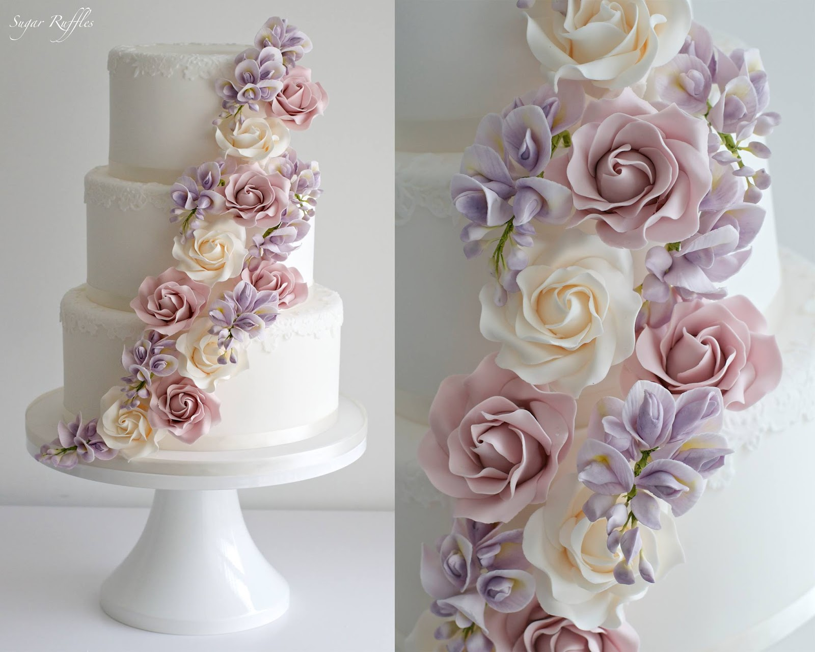 Wedding cake with cascading roses and wisteria sugar flowers mightylinksfo