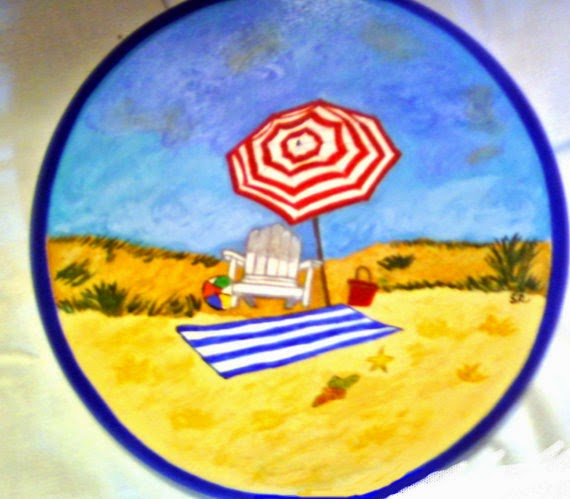 hand painted bar stool in beach theme with red umbrella