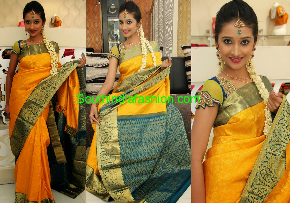 yellow silk saree