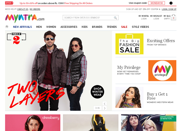 online shopping experience with myntra