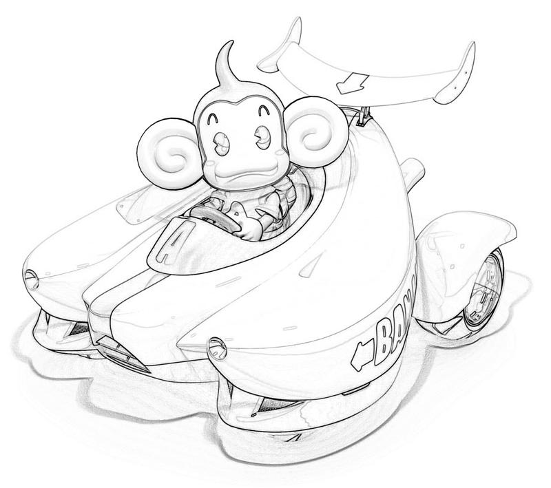 Super Monkey Ball Aiai Car Jpeg Courtesy