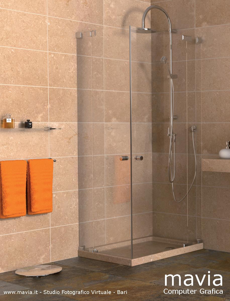 Arredamento di interni arredo bagni moderni rendering 3d bagni in muratura con doppio - Bagno moderno con doccia ...