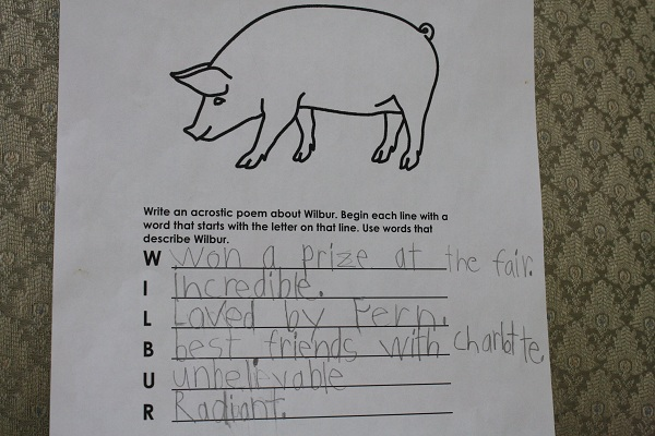 Charlottes web activities part 1 nurturing learning bear wrote an acrostic poem ccuart Choice Image