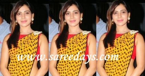 Latest saree designs samantha in polka dots georgette saree thecheapjerseys Images