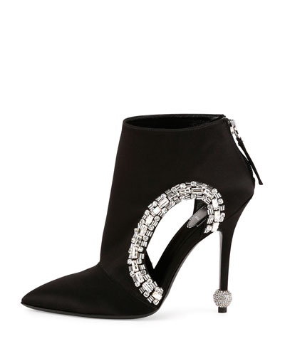 Roger Vivier black satin ankle boots with cutout and crystal embellishments