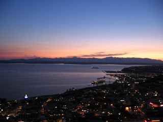 Seattle water sunset