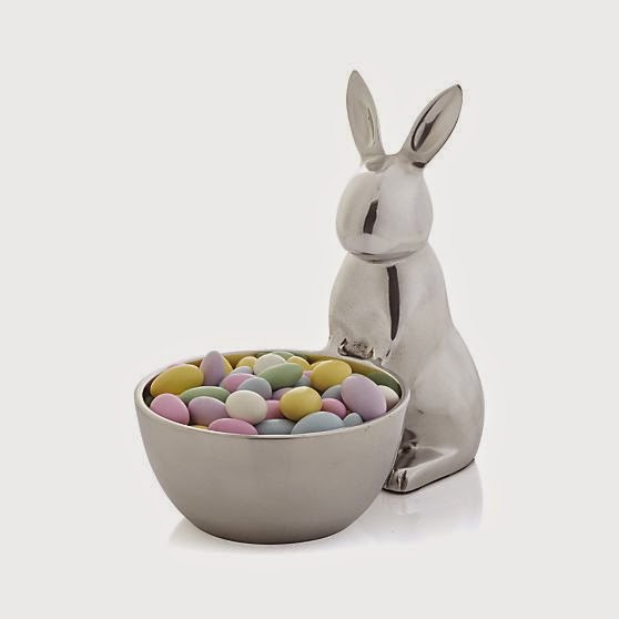 gracious bunny makes a generous offering of jellybeans sweet treats and nuts in this adorable server made of shiny aluminum pairs well with matching aluminum crate barrel