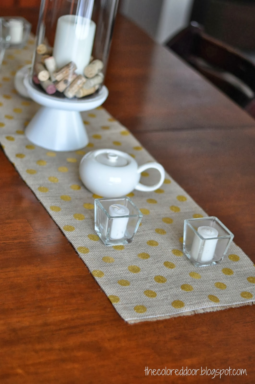 Gold polka dot burlap runner - the colored door