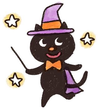 ハロウィンのイラスト「黒猫の魔女」
