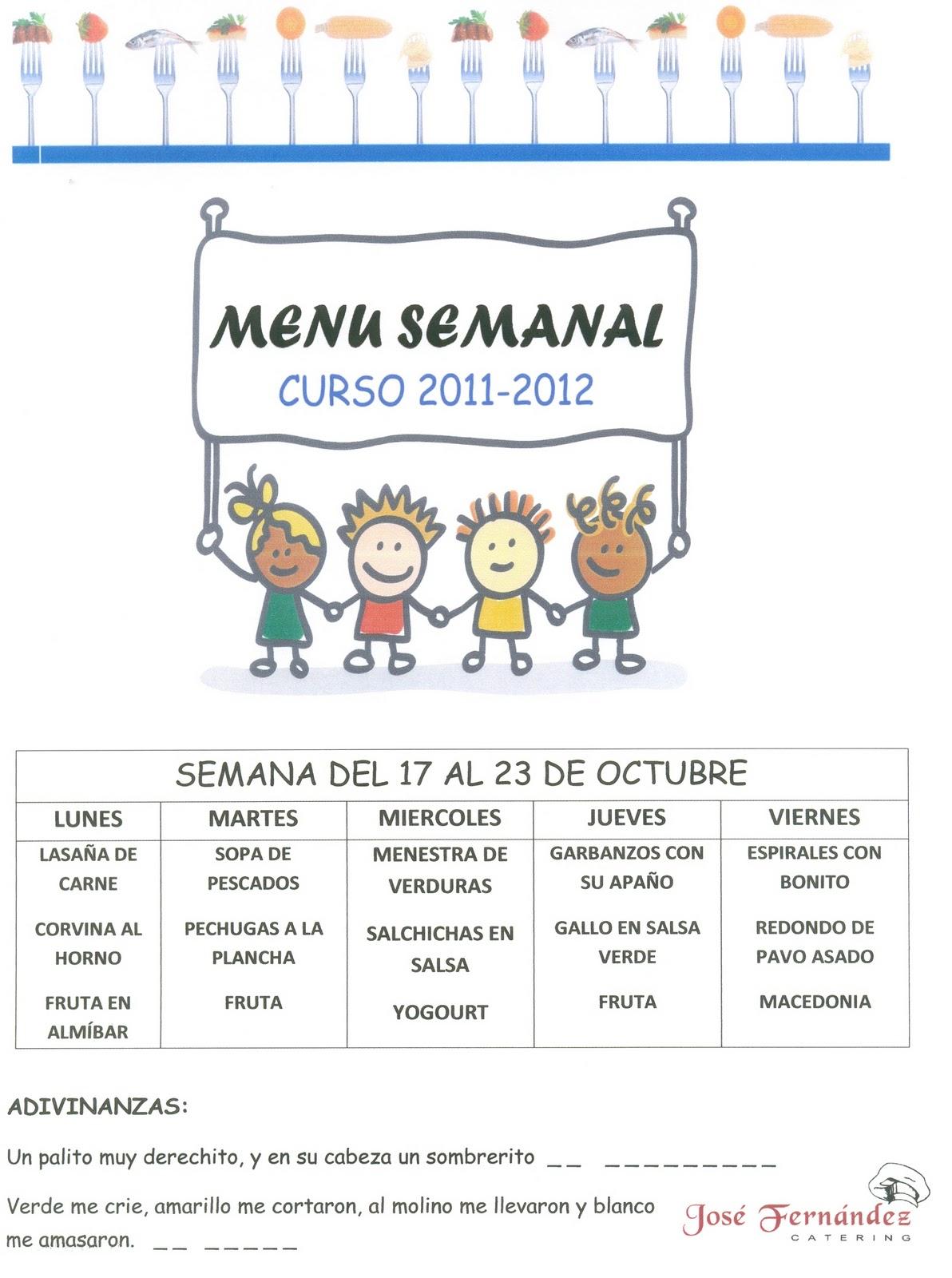 Menu Comedor Escolar | Blog Santa Ana Sabi Menu Semanal Del Comedor Escolar Semana
