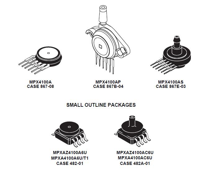 beberapa bentuk dari sensor tekanan seri MPX4100