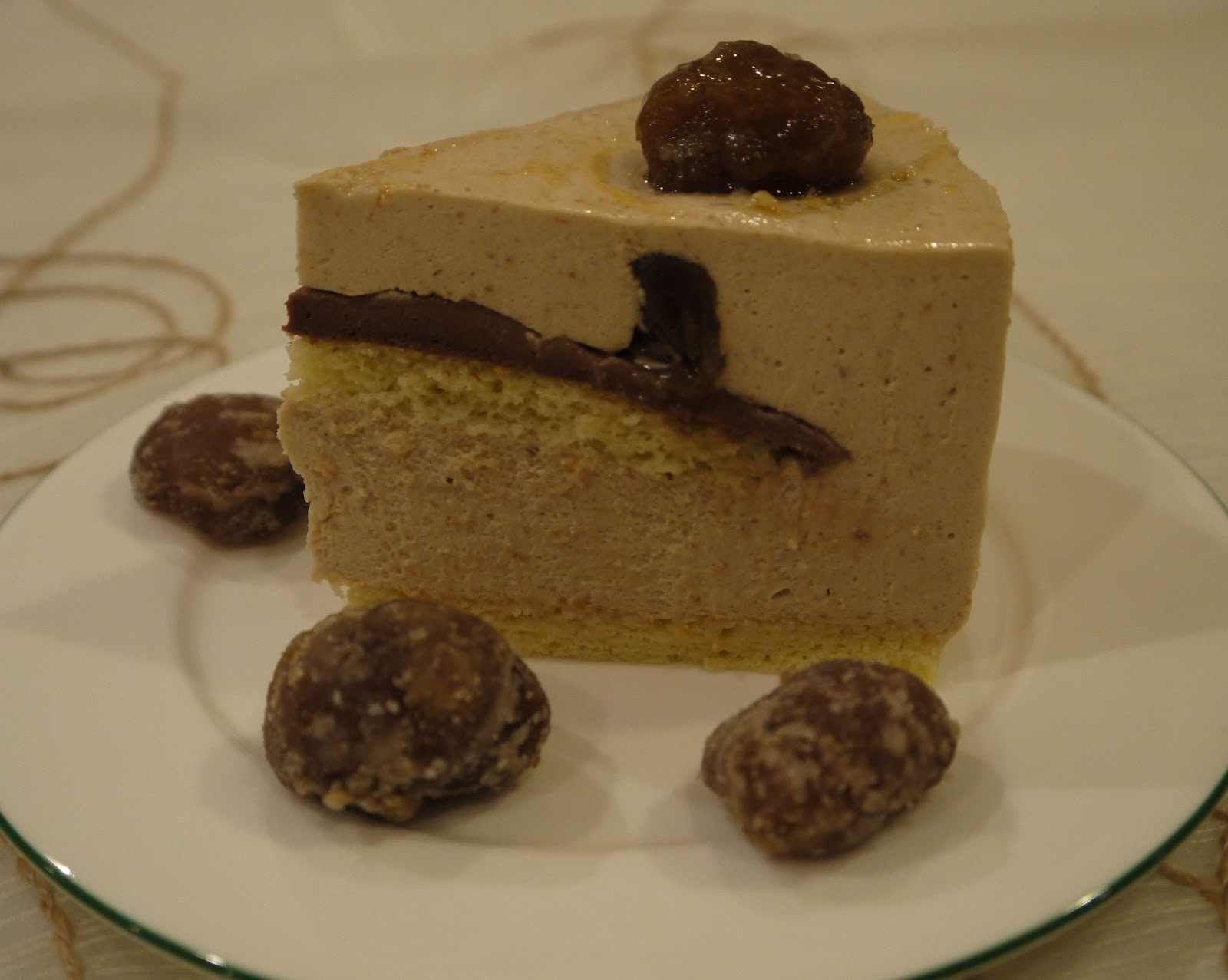 Chestnut mousse cake decorated with glazed chestnuts