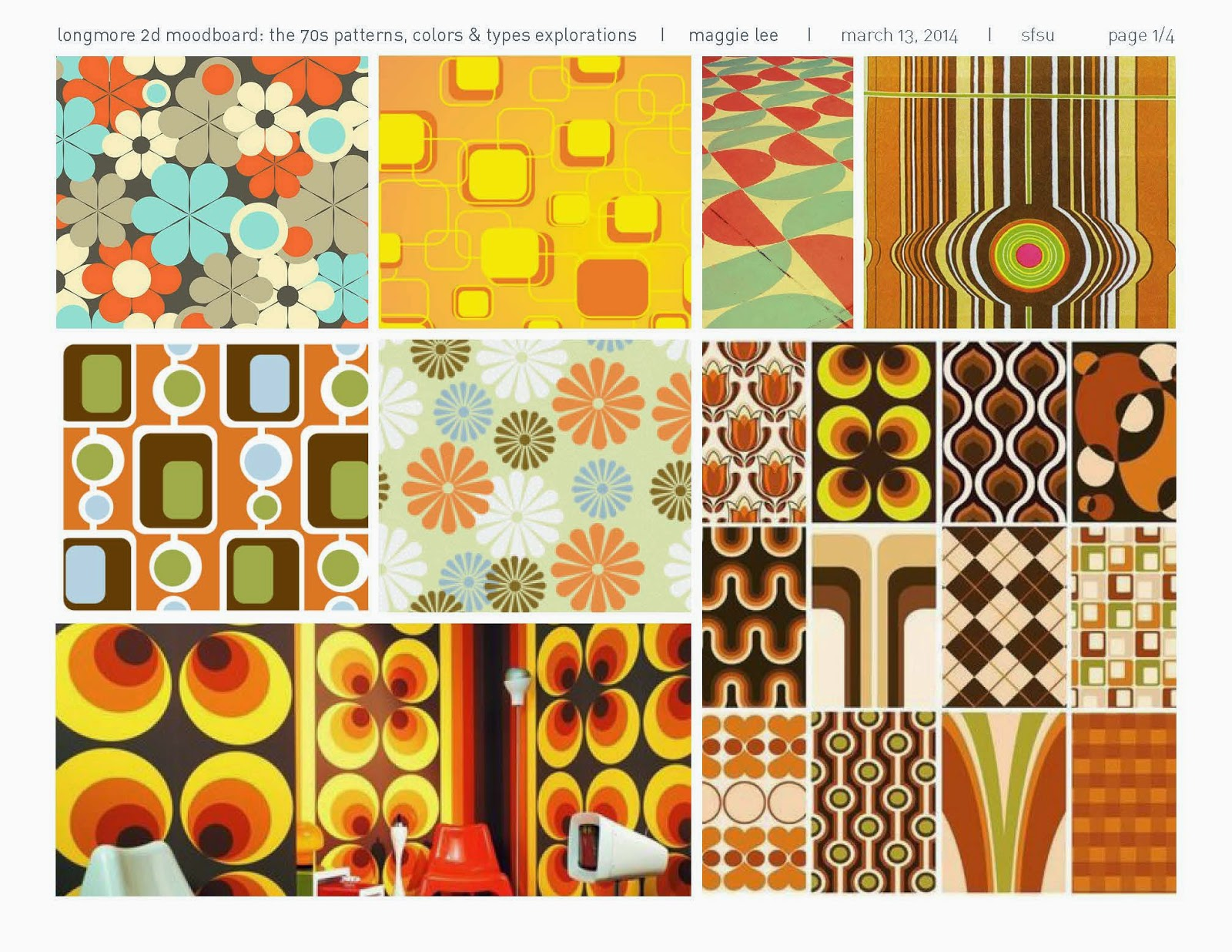 1970's wallpapers, patterns, and prints in orange, yellow, blue, green for inspiration