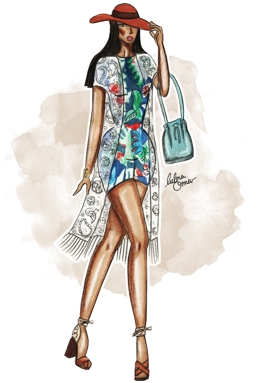 tropical print outfit illustration by lubna omar