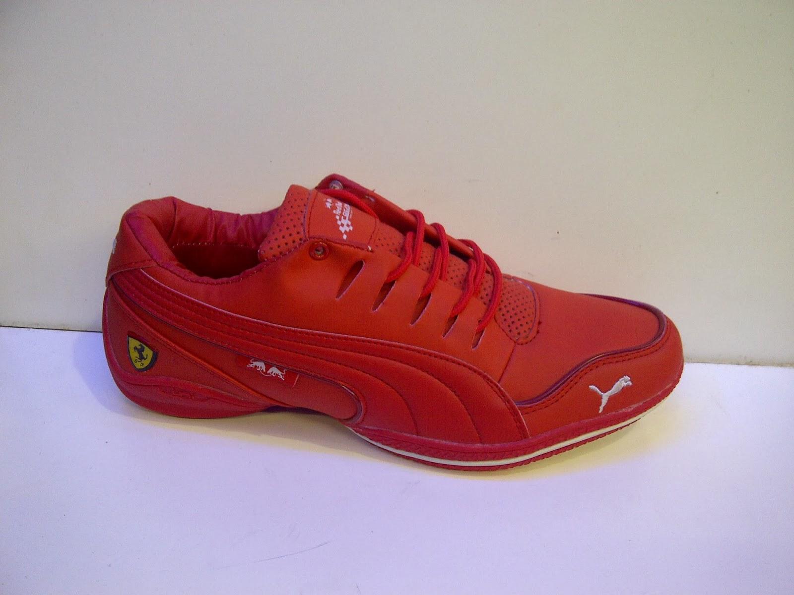 sepatu Puma Ferrari warna merah, sepatu puma merah, puma warna merah, puma ferrari import